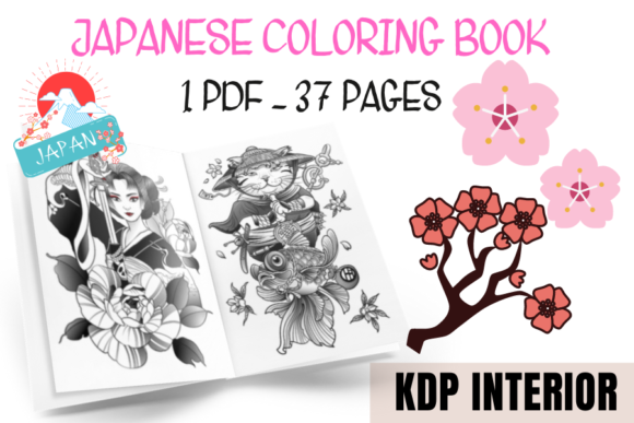 Japanese Coloring Book Graphic KDP Interiors By Piqui Designs