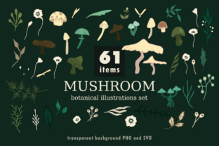 Print on Demand: Mushroom Botanical Illustrations Set. Graphic Illustrations By artsbynaty