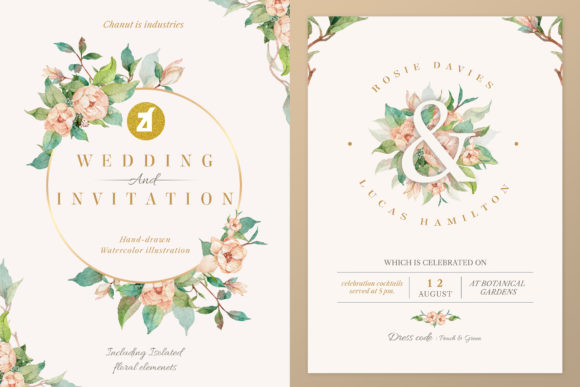 Old Rose Wedding Invitation Graphic Graphic Print Templates By Chanut is watercolor
