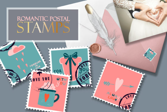 Postage Stamps Romantic for Valentine's Graphic Illustrations By AnNetArt