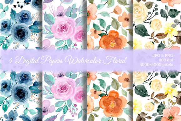 Print on Demand: Seamless Pattern Floral Watercolor 28 Graphic Patterns By asrulaqroni