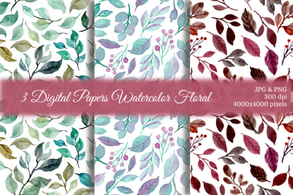 Print on Demand: Seamless Pattern Leaves Watercolor 6 Graphic Patterns By asrulaqroni