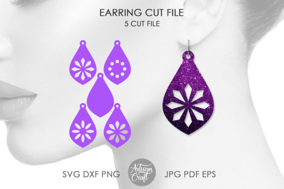 Print on Demand: Teardrop Earrings SVG Cut File Graphic 3D SVG By Artisan Craft SVG