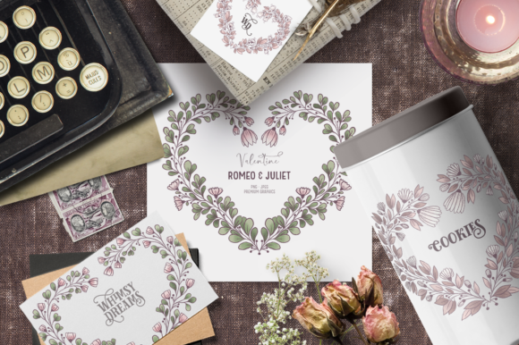Print on Demand: Vintage Valentines Clipart Frames Graphic Illustrations By Wallifyer