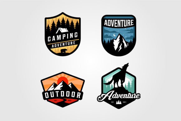 Set of Adventure Camping Logo Vector Graphic Logos By lawoel