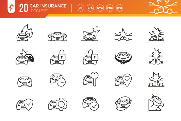 Car Insurance Icon Set Graphic Icons By ferart88