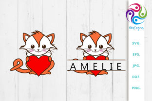Print on Demand: Cat with Heart and Split Monogram Bundle Graphic Crafts By Sintegra