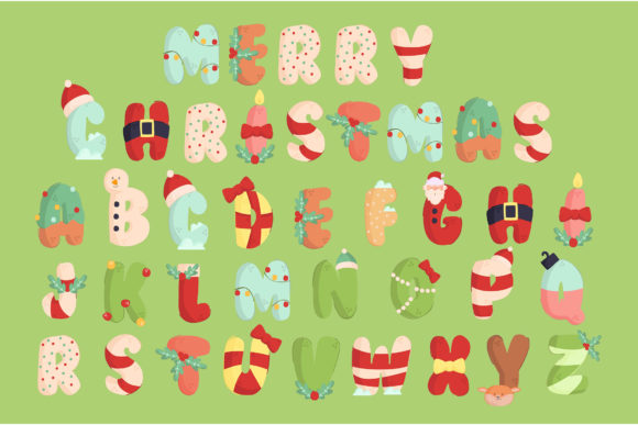 Christmas Alphabet Illustration Set Graphic Illustrations By april_arts