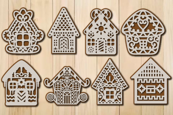 Print on Demand: Christmas Gingerbread House Template SVG Graphic Crafts By yulnniya