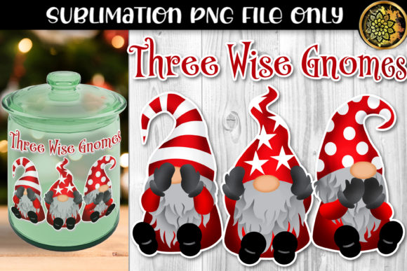 Print on Demand: Christmas Sublimation Three Wise Gnomes Graphic Crafts By V-Design Creator