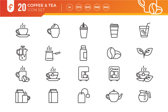 Coffee and Tea Line Icons Set Graphic Icons By ferart88