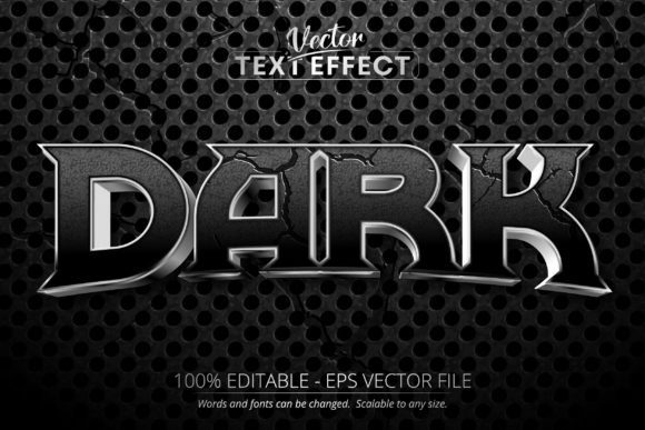 Print on Demand: Dark Text, Shiny Silver Text Effect Graphic Layer Styles By Mustafa Bekşen