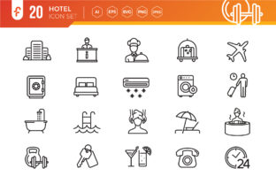 Hotel Elements Line Web Icon Set Graphic Icons By ferart88