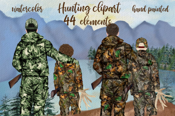 Hunting Clipart Father and Son Graphic