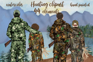 Print on Demand: Hunting Clipart Father and Son Graphic Illustrations By LeCoqDesign