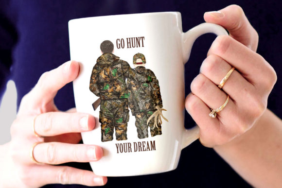 Hunting Clipart Father and Son Graphic Design Item