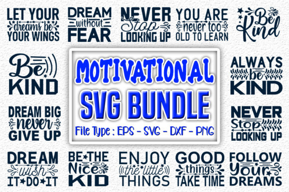 Print on Demand: Motivational   Quotes Designs Bundle Graphic Print Templates By svg_hut