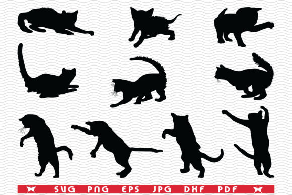 SVG Cats, Black Silhouettes, Digital Graphic Icons By DesignStudioRM