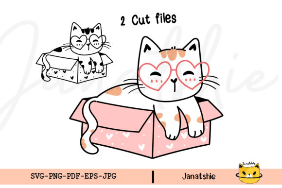 SVG Cut File Kawaii Cat in Pink Box Graphic Crafts By Janatshie