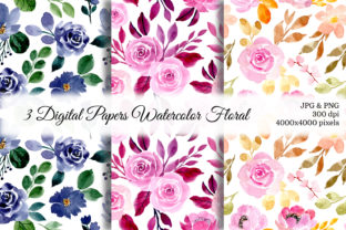 Print on Demand: Seamless Pattern Floral Watercolor 33 Graphic Patterns By asrulaqroni