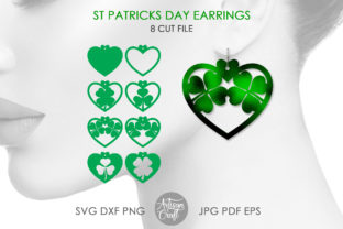 Print on Demand: Shamrock Earrings SVG, St Patrick's Day Graphic 3D SVG By Artisan Craft SVG