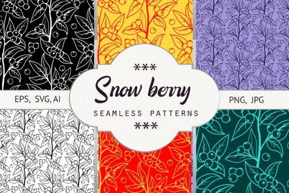 Print on Demand: Snow Berry. Seamless Patterns Graphic Patterns By Natika_art