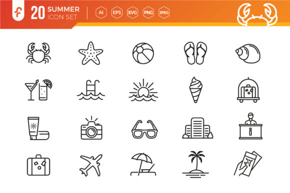Summer, Beach Elements Icon Set Graphic Icons By ferart88