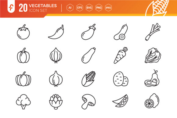 Vegetables Line Icon Set Graphic Icons By ferart88