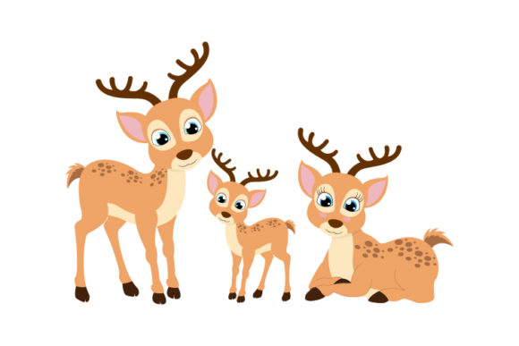 Print on Demand: Cute Deer Family Graphic Illustrations By curutdesign