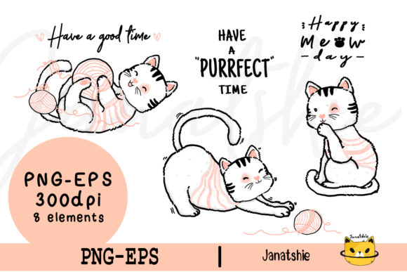 Cute Kitten Cat with Knitted Ball PNG Graphic Illustrations By Janatshie