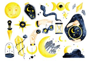 Mystic Astronomy Water Color Vector Graphic Illustrations By Big Barn Doodles
