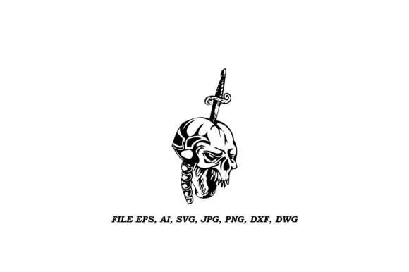 Print on Demand: Skull Stuck in the Knife Illustration Graphic Logos By nisakaart