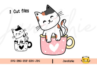 Print on Demand: Cute Cat in Coffee Cup Clipart Graphic Crafts By Janatshie