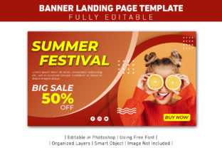 Banner Landing Page Summer Festival Graphic Web Templates By ant project template
