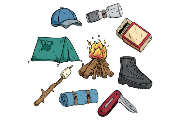 Print on Demand: Camping Collection with Doodle Style Graphic Illustrations By PadmaSanjaya