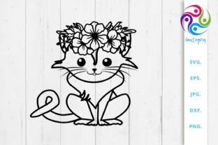 Print on Demand: Cat with Flowers Crown on Head Svg File Graphic Crafts By Sintegra