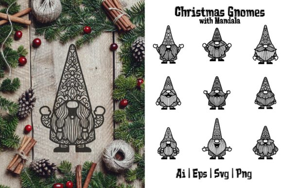 Print on Demand: Christmas Gnomes SVG with Mandala 1 Graphic Crafts By Bayu Baluwarta