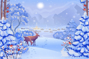 Print on Demand: Christmas Landscape Background 13 Graphic KDP Interiors By design-world