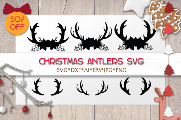 Print on Demand: Christmas SVG Antlers | Christmas Bundle Graphic Objects By pufanya
