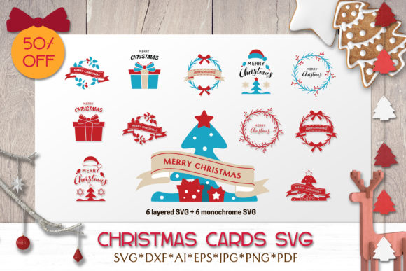 Print on Demand: Christmas SVG Bundle | Greeting Cards Graphic Illustrations By pufanya