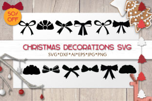 Print on Demand: Christmas SVG Decoration    Bow Ribbon Graphic Objects By pufanya