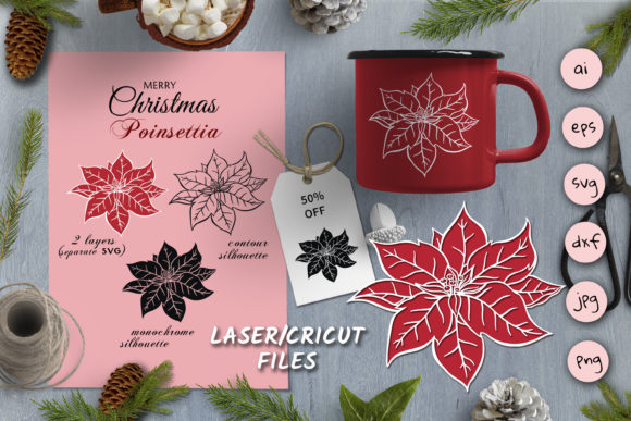 Print on Demand: Christmas SVG Silhouettes Poinsettia Graphic Illustrations By pufanya