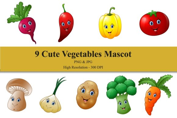 Cute Vegetables Mascot Bundle Graphic Illustrations By creation