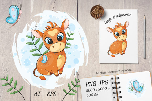 Print on Demand: Cute Animal | Cow Baby | Ox Sublimation Graphic Illustrations By pufanya
