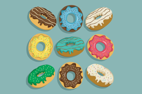 Donuts Collection with Flat Style Graphic Illustrations By PadmaSanjaya