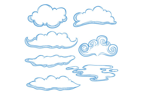 Doodle Clouds Collection Graphic Illustrations By PadmaSanjaya