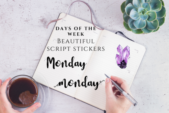 Letteres Stickers- Days of the Week Graphic Objects By Aneta Design