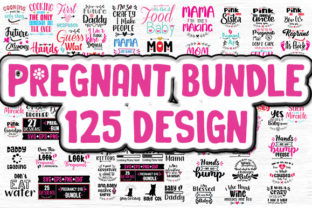 Print on Demand: Pregnant Bundle 125 Design Graphic Crafts By svg.in.design