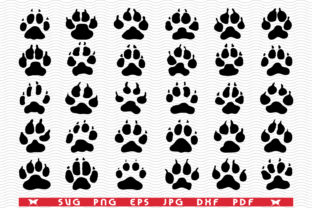 Dogs Paws, Black Silhouette Graphic Icons By DesignStudioRM