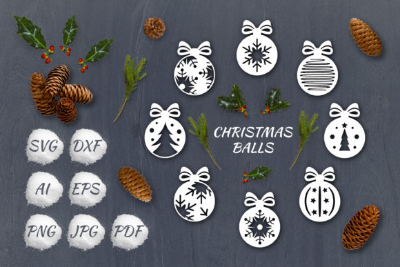 Print on Demand: SVG Set of Christmas Decoration Balls Graphic Objects By pufanya